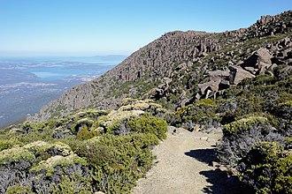 Wellington Park - Image: Mount Wellington hiking track and Organ Pipes, Tas