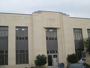 Seguin, Texas - The Municipal Building, a New Deal project built in Art Deco style in 1935, Lewis M. Wirtz and Harold Calhoun, architects