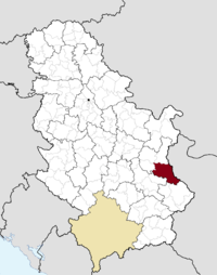 Location of the municipality of Knjaževac within Serbia