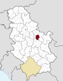 Location of the municipality of Petrovac within Serbia