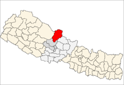 Location of Mustang District in Nepal.