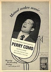 "Photograph of Perry Como singing, superimposed on an illustration of a microphone and accompanied by advertising copy, including the slogan ""Mutual makes music...""."