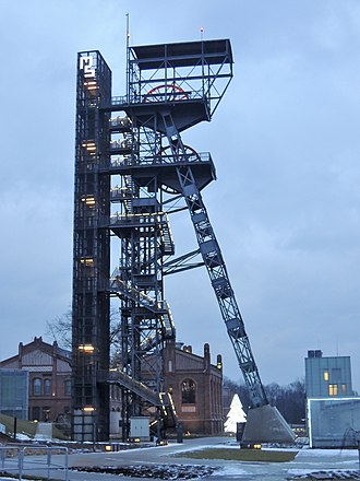Shaft mining - Mine shaft Warszawa, Katowice. Currently functioning as observation tower and part of the Silesian Museum