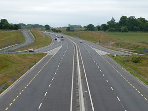 N18 road (Ireland) - Looking South from the Ennis junction flyover. This section of HQDC has been redesignated as motorway, effective 28/8/09.
