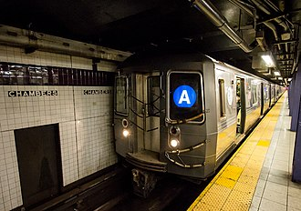 A (New York City Subway service) - An A train of R68As at Chambers Street