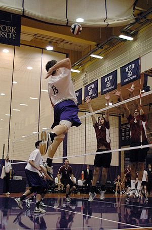 NYU Violets - Men's volleyball match in the Coles Center