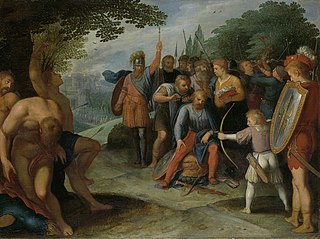 After the Fall of Vetera Castra Claudius Civilis has his hair cut while his son shoots some prisoners