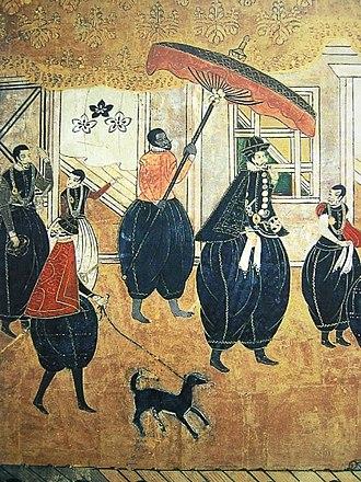 Nanban trade -  A group of Portuguese Nanban foreigners, 17th century, Japan.