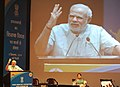 "Narendra Modi addressing at the ""Teachers' Day"" function, at Manekshaw Auditorium, in New Delhi on September 05, 2014. The Union Minister for Human Resource Development, Smt. Smriti Irani is also seen.jpg"