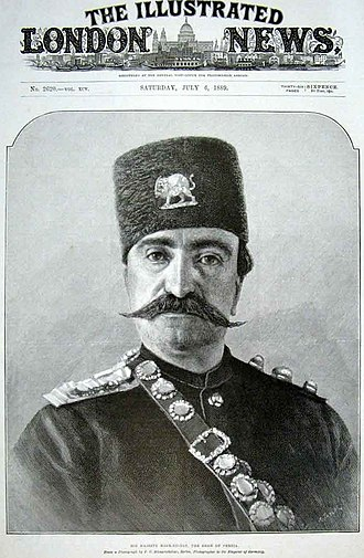 The Illustrated London News - Nasser al-Din Shah Qajar on the front page of The Illustrated London News during his last visit to Britain