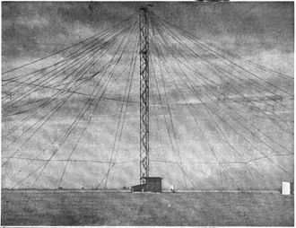 Umbrella antenna - Umbrella antenna for early VLF spark transmitter at Nauen, Germany, 1907