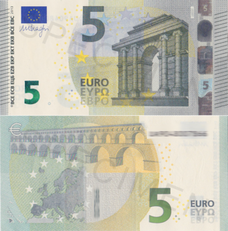 Euro - The new banknotes were introduced in the beginning of 2013. The top half of the image shows the front side of the banknote and the bottom half shows the back side.