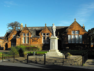 Newmilns - Lady Flora's Institute (built in memory of the tragic Lady Flora Hastings) with war memorial in front.
