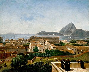Rio de Janeiro - Rio de Janeiro, then de facto capital of the Portuguese Empire, as seen from the terrace of the Convento de Santo Antônio (Convent of St. Anthony), c. 1816