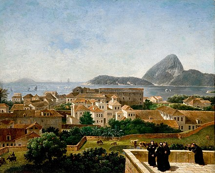 Rio de Janeiro, then de facto capital of the Portuguese Empire, as seen from the terrace of the Convento de Santo Antonio (Convent of St. Anthony), c. 1816 Nicolas-Antoine Taunay.jpg
