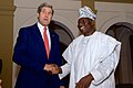 Nigerian President Jonathan Greets Secretary Kerry Upon Arrival At State House in Lagos for Election Conversation (16177696837).jpg