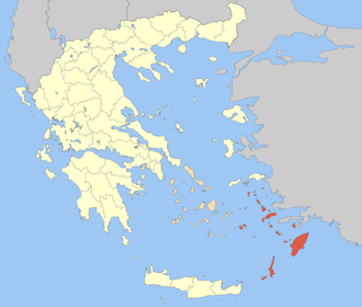 Dodecanese campaign - Location of the Dodecanese Islands (in red) in relation to Greece