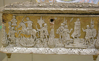 Pastiglia - White lead pastiglia on an Italian casket, late 15th century, with Marcus Curtius at left, British Museum.