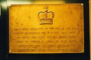 North Cape (Norway) - Image: North cape battle memorial plaque