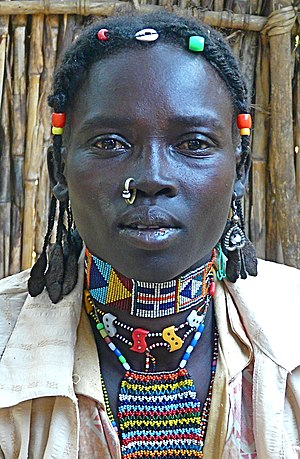 Braid - Nuba tribes woman from Sudan wearing braids