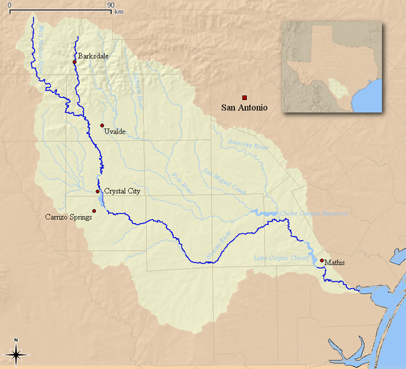 Map of the Nueces River and associated watershed Nueces Watershed.png