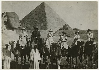 Hadassah Medical Center - Nurses and physicians from the American Zionist Medical Unit on camels in Egypt en route to Palestine in July 1918