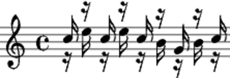 Kotekan - Nyog cag. Stems-up is polos, stems-down is sangsih. All pitches are only approximate.