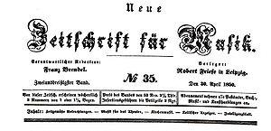 Neue Zeitschrift für Musik - Front page banner of NZM, issue of 30 April 1850.