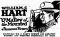 O'Malley of the Mounted (1921) - Ad 1.jpg