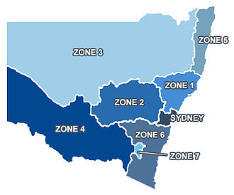 New South Wales Operating Theatre Association - OTA Zone map