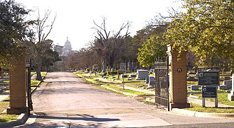 Texas Capitol View Corridors - The protected capitol view from Oakwood Cemetery
