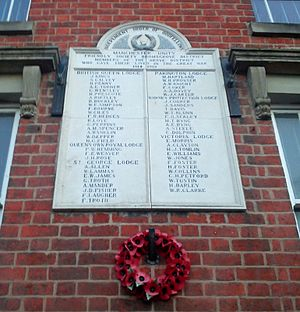 Independent Order of Oddfellows Manchester Unity - Odd Fellows (Manchester Unity) war memorial on a house in Bromsgrove, Worcestershire.