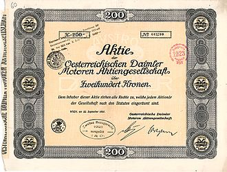 Austro-Daimler - Share of the Oesterreichische Daimler Motoren AG, issued 22. September 1921
