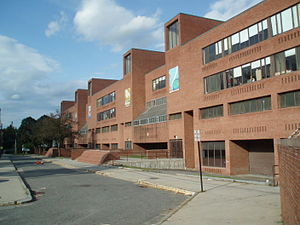 Newton North High School - The old building at 360 Lowell Avenue.