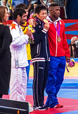 Wrestling at the 2012 Summer Olympics – Men's freestyle 66 kg - Image: Olympic Freestyle Wrestling (66 kg Medalists)
