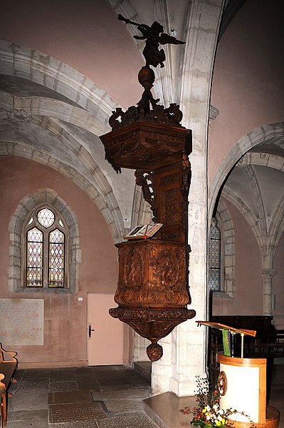 Church of Orchamps-Vennes, pulpit 17th century; department Doubs, France.