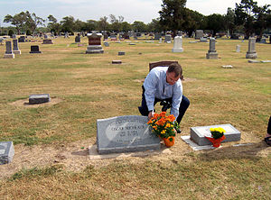Oscar Micheaux - Grave of Oscar Micheaux in Great Bend being decorated during the 2005 Oscar Micheaux festival.