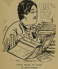 "A caricature of Wilde by Aubrey Beardsley, the caption reads ""Oscar Wilde At Work""."