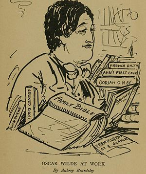 "Oscar Wilde bibliography - A caricature of Wilde by Aubrey Beardsley, the caption reads ""Oscar Wilde At Work""."