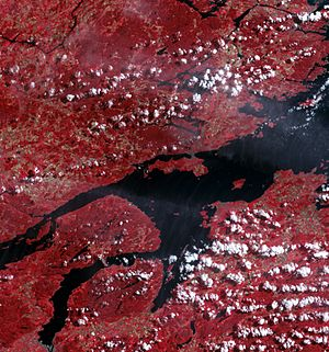 Oslofjord - False-colour image of middle parts of Oslofjorden. North is to the left