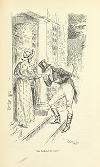 On a stoop, a young man kisses a young woman's hand.