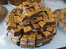 Baklava coupé en forme carrée