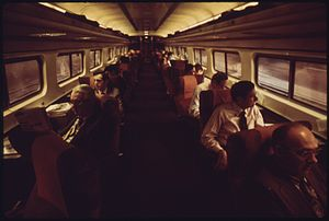 Parlor car - Club seating aboard the Metroliner in the 1970s.