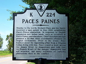 Richard Pace (Jamestown) -  Historical marker in Surry County, Virginia near the location of the Pace's Paines plantation.