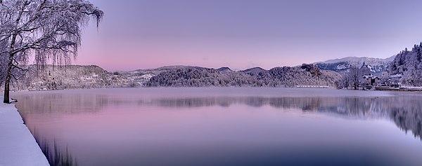 Panorama of Lake Bled in winter morning