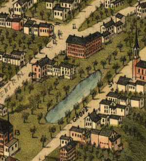 Farmington, New Hampshire - Bird's-eye view in 1877