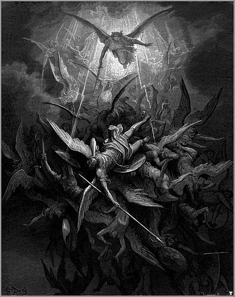 Fallen Stars: Mighty archangels lead Heaven's angelic host as they cast Lucifer (Satan) and his rebellious angels from celestial realms. An illustration of the 'War in Heaven' for Milton's Paradise Lost by Gustave Doré.