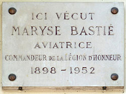 Photo of Maryse Bastié white plaque