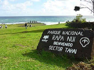 Announcement in Spanish on Easter Island, welcoming visitors to Rapa Nui National Park Parque Nacional Rapa Nui.jpg