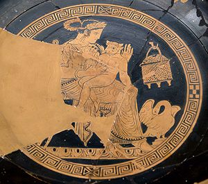 Minotaur - Pasiphaë and the Minotaur, Attic red-figure kylix found at Etruscan Vulci (Cabinet des Médailles, Paris)